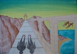 Picturi surrealism Cuplu sau umbre fara chip