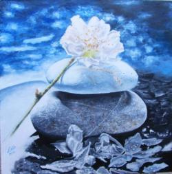 Picturi surrealism Pietre cu flori de cires