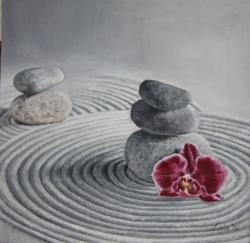 Picturi surrealism Pietre cu orhidee