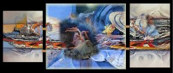 Picturi surrealism Triptic dans astral--221