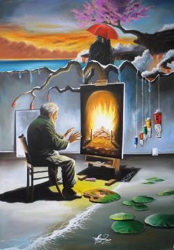 Picturi surrealism Burning Memories