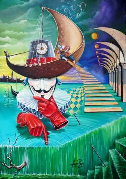 Picturi surrealism Il Pagliacci