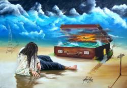 Picturi surrealism Naufragiat in amintiri