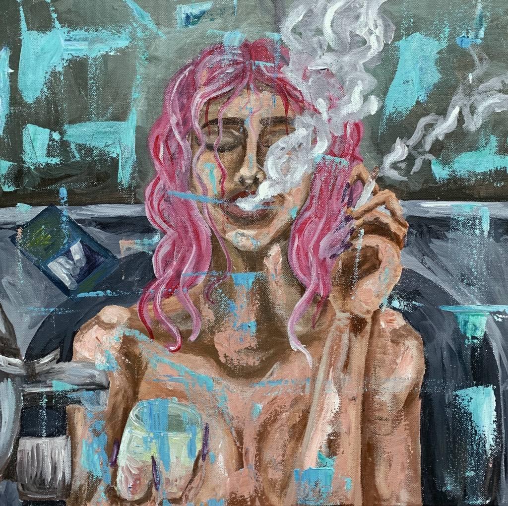 Fata cu păr roz